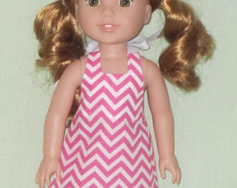 American Girl 14 inch Wellie Wishers Doll Halter Dress Pink and White Chevron