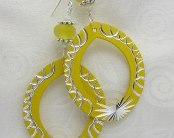 Yellow Lampwork Earrings with Yellow Enameled Metal Pendants Silver Etchings Dangle Drop Earrings SRAJD USA Handmade