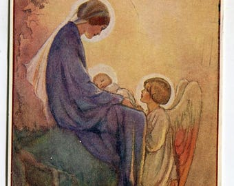 There came a little child to Earth Tarrant postcard, Angel,  baby in Mother's lap, Margaret W. Tarrant artist,  Medici postcard, Pkt 210