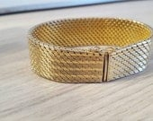 30% SALE! Made in Italy, vintage from 50s, fifties, Italian mesh chainmaille bracelet, 18k gold, on sterling base