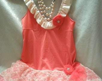 30% OFF Spring Cleaning TUNIC Top Tank Whimsical Fairylike Romantic Boho Fairy Princess Glam Girl - Coral & Ivory