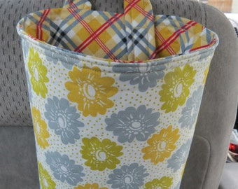 Trash Bin, Car Trash Bag, Cute Car Accessories, Headrest Bag, Trash Container, Green, Gold, and Blue-Gray Flowers