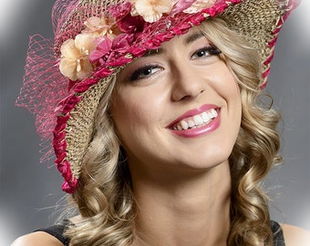 Romantic summer hat with flowers and veil to fit to the headsize M -  Last hat for SALE - 70%, only 1 hat available