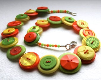 Citrus - Orange, Lime Green and Yellow button necklace