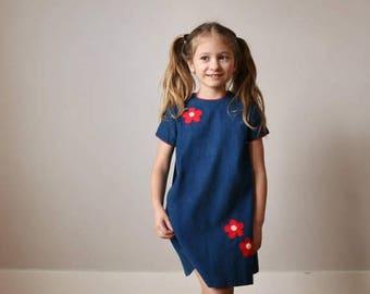 SPRING SALE 1960s Corduroy Flower Dress >>> Size 5t/6