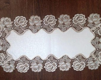 Two Tone Rose Lace Table Runner, Dresser Scarf, or Coffee Table Runner in Taupe and Antique White in Various sizes