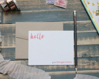 Hello Watercolor Custom Personal Stationary Set | Stationery Gift | Morgan