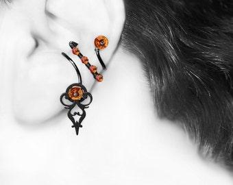 Steampunk Ear Cuff For Left Ear, Astral Pink Swarovski Crystals, No Piercing, Cartilage Earring, Statement Cuff, Urania III v8 Left