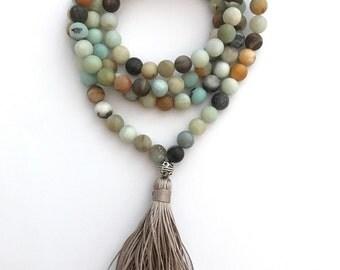 matte amazonite 108 bead traditional mala prayer necklace with silk tassel, yoga necklace, mala necklace, tassel necklace, beaded necklace