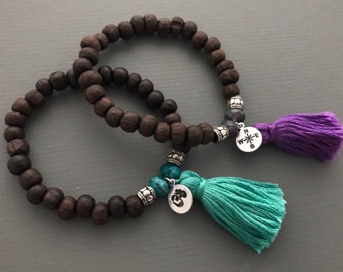 wanderlust mala bracelet with customizable charm and tassel, yoga jewelry, tassel bracelet, charm bracelet, wood bracelet, wanderlust
