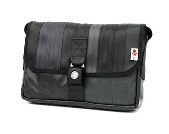 905I Messenger bag from RECYCLED car seatbelt, reclaimed car seat leather, reused truck tarp & automotive buckle