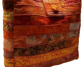 Large Batik Purse in Orange Fabrics