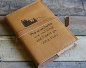 READY TO SHIP Leather Journal - Handmade Leather Sketchbook Cover - Custom Journal - Monogram - Personalize - John Muir