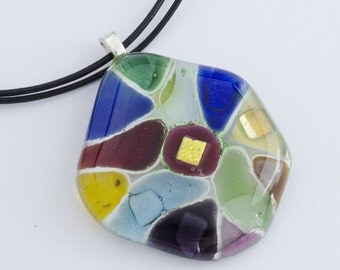 Colorful Pendant / Fused Glass Necklace / Fused Glass Pendant / Statement Jewelry / Gift For Her / Gift Ideas / Fused Glass Jewelry
