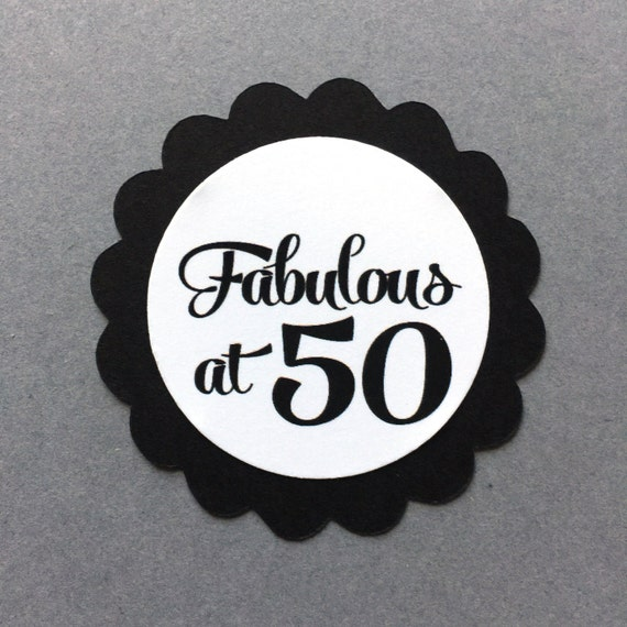 Fabulous At 50 Font: 50th Birthday Favor Tags, Fabulous At 50, Set Of 12, Black
