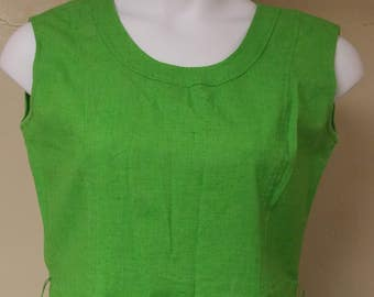 Vintage Serbin dress sleevless no collar in a celery green aline with top stitching 12