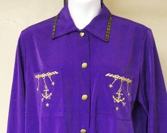 Sport Savvy drapey purple nautical theme blouse top long sleeve button front 1X