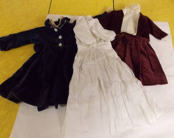 Vintage lot doll clothing, Edwardian/Victorian style items, hand made home made other 11 piece