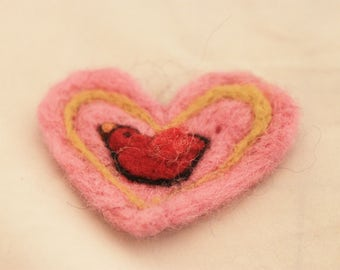 Heart, Needle Felted Pink Heart Pin
