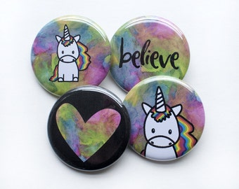 Unicorn Buttons – Unicorn Pins – I Believe in Unicorns – Rainbow Pins – Unicorn Party – Unicorn Party Favors – Unicorns Birthday
