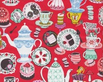 Blend Fabrics Wonderland Mad Tea Party in Red - Half Yard