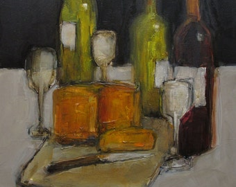 WINE AND CHEESE Food Still Life Culinary Art Giclee Colette Davis print from my original oil painting