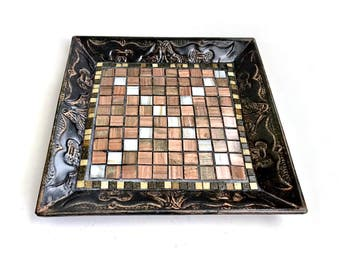 Black Bronze Mosaic Metal Tray, Black Metal and Mosaic Tray, Handmade Brown Bronze Mosaic Tray, Mosaic Serving Tray, Mosaic Centerpiece