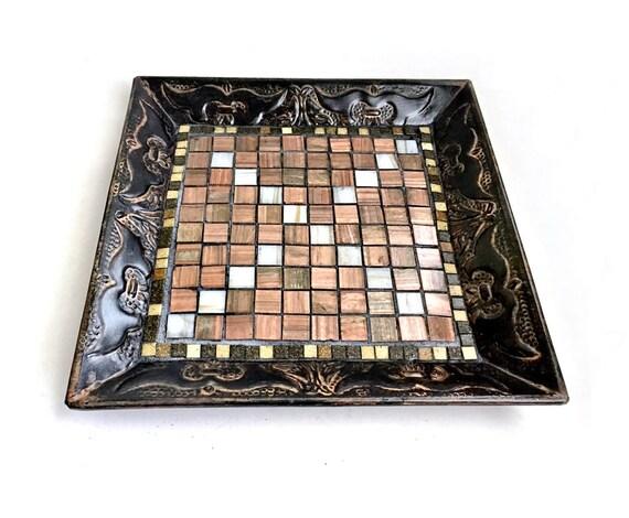 Black Bronze Mosaic Metal Tray, Black Metal and Mosaic Tray, Handmade Brown Bronze Mosaic Tray, Mosaic Serving Tray, Mosaic Centerpiece