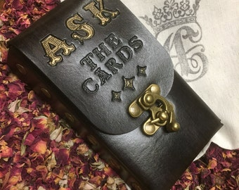 ASK The Cards...Leather Tarot Deck Cards Pouch Case Holder