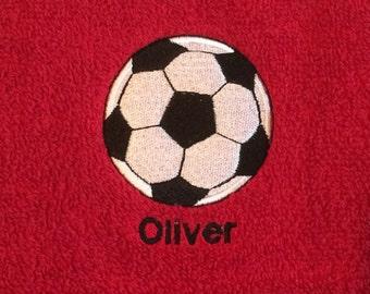 Football Bath Towel - RED Personalised