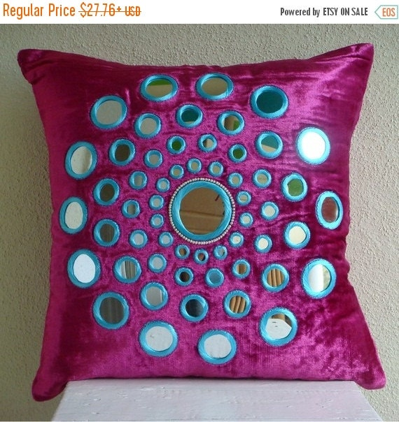 "15% HOLIDAY SALE Fuchsia Pink Decorative Pillow Cover, 16""x16"" Velvet Pillows Covers For Couch, Square  Mirror Medallion Pillows Cover - Cir"