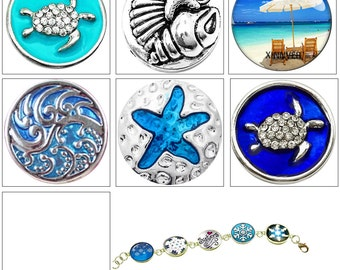 MERZIEs 18mm glass U PICK round sea turtle shells starfish beach chair umbrella ocean waves SNAP Button - SHIPs from USA - Combined Shipping