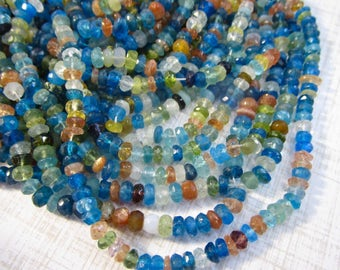 Fine Apatite Sunstone Sapphire Green Garnet Rondelle Beads 4mm, Rainbow Gemstone Natural
