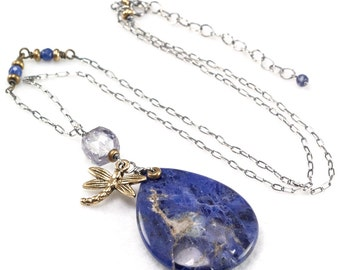 Sodalite pendant necklace , Mystic Blue Quartz brass dragonfly mix metal necklace , Oxidised 925 silver necklace chain , Boho necklace