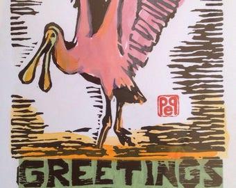 Florida Greetings Pink Spoonbill Bird Note Card hand-made linocut artist print