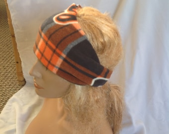 Detroit Tigers Plaid Fleece Winter Earwarmer Headband, Ear Warmer Headband, Earwarmer, Ear Warmer, Winter Headband, Fleece Headband