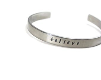 Believe Customizable Hand Stamped Cuff Bracelet
