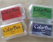 ColorBox mini stamp pad set of 4 new - pigment ink red, green yellow, blue