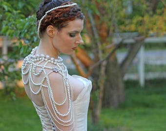Bridal Pearl Shoulder Necklace Epaulette Wedding Accessory Back Draping Body Jewelry Vintage 1920s Style Victorian Edwardian Chain Handmade