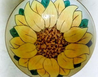 Vintage Sunflower Bowl, Ceramic Sunshine Decorative Bowl, Japanese Decor, Hand Painted and Etched Flower Serving Bowl - Yellow Gold, Copper