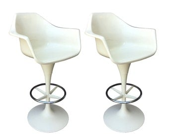 Pair of Tulip Base Bar Stools Mid Century Modern