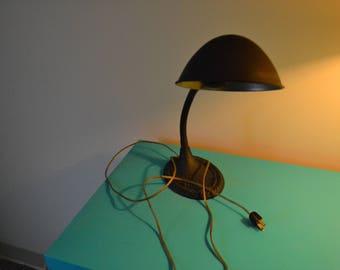 Antique Gooseneck Desk Lamp, Cast Iron Base, Tin Shade, 1930s
