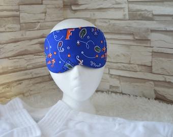 Handcrafted Travel/Sleep/Eye Mask ~ Light Blocking in a Florida Gator Fabric ~ READY TO SHIP