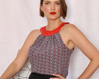 Red and Grey Deco Halter Neck Top, Silk Rayon  Women's Blouse, Loose Fit, Handmade in Australia.