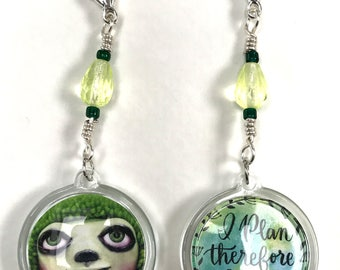A Little Odd Planner Charm Green Face and Quote