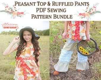 Bundle and Save! Peasant Top and Ruffled Pants Size 2T to 12 yrs