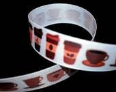 Coffee Ribbon, Tea Ribbon, Food Ribbon, Coffee Wedding Favor, Latte Ribbon, Breakfast Ribbon, Snack Ribbon, Caffeine Ribbon, Beverage Ribbon