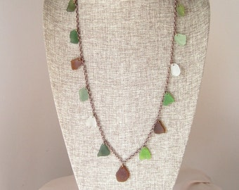 Long Multi-Colored Seaglass Necklace  on an Oxidized Copper Chain