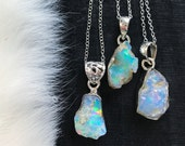 ON SALE Raw Opal necklace | Chunky opal necklace | Opal crystal necklace | Fire opal necklace | Opal in silver pendant