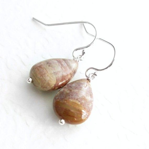 Brown Petrified Wood Earrings, Fossil Stone Jewelry